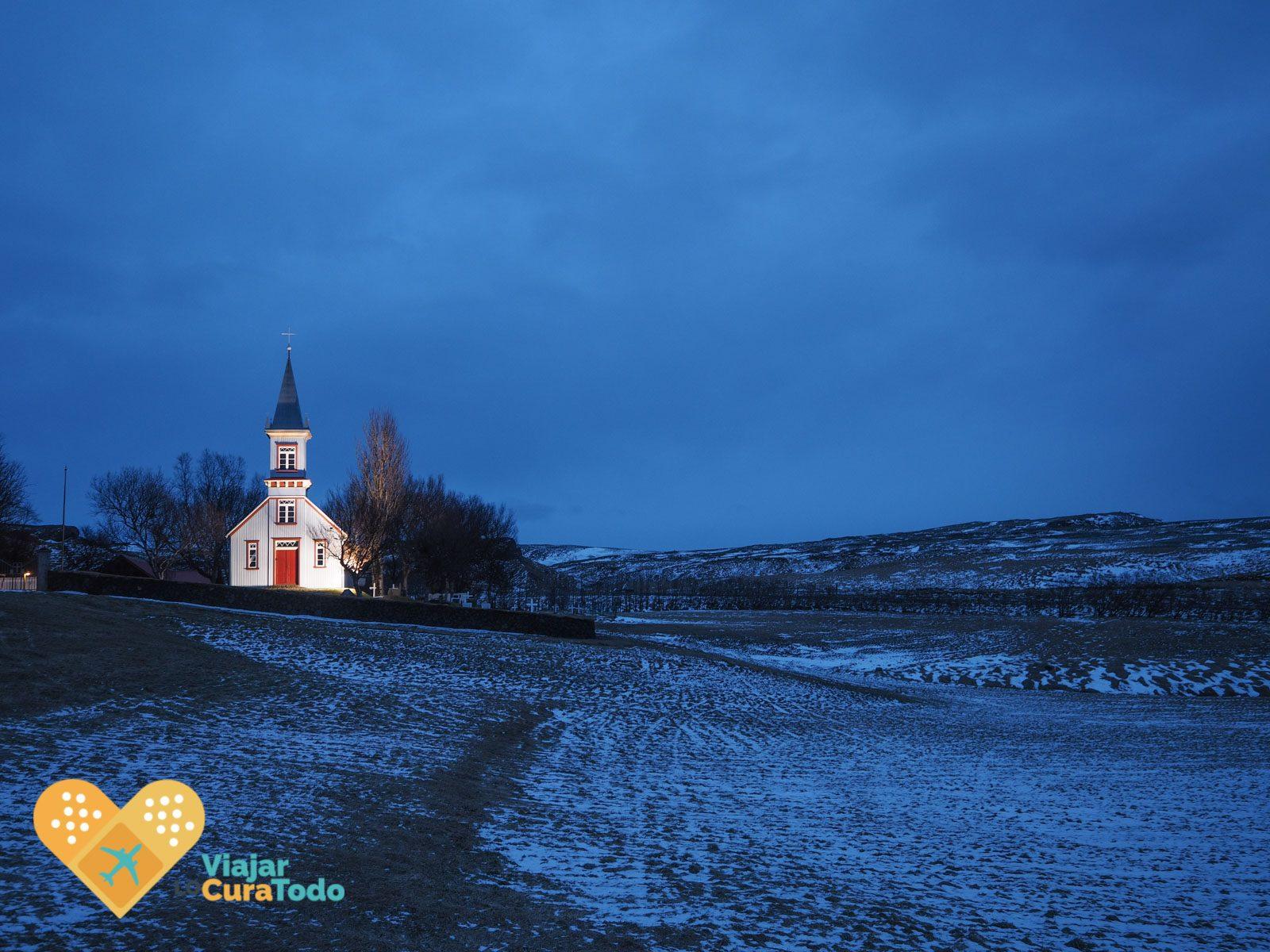 icelandic church at night