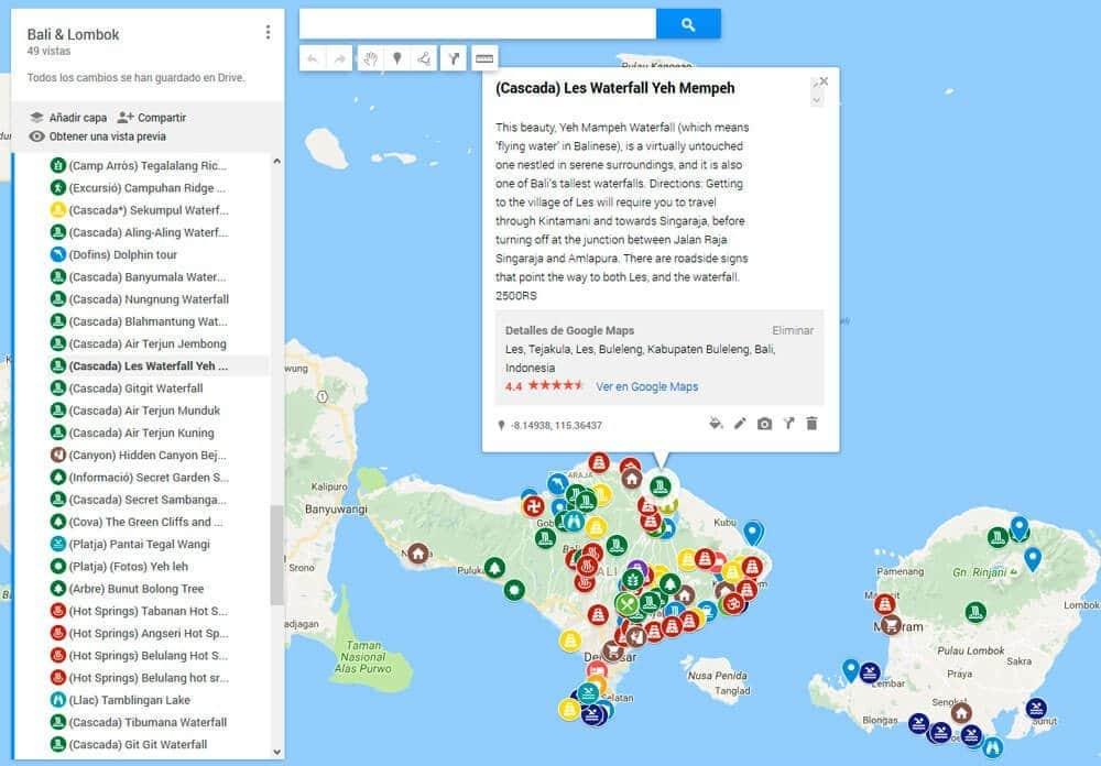 ¡Así de bonito y colorido quedó nuestro mapa a Bali!