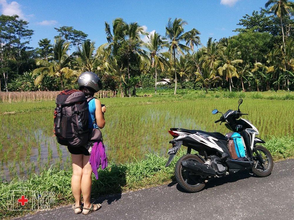 Así de cargados íbamos por Bali
