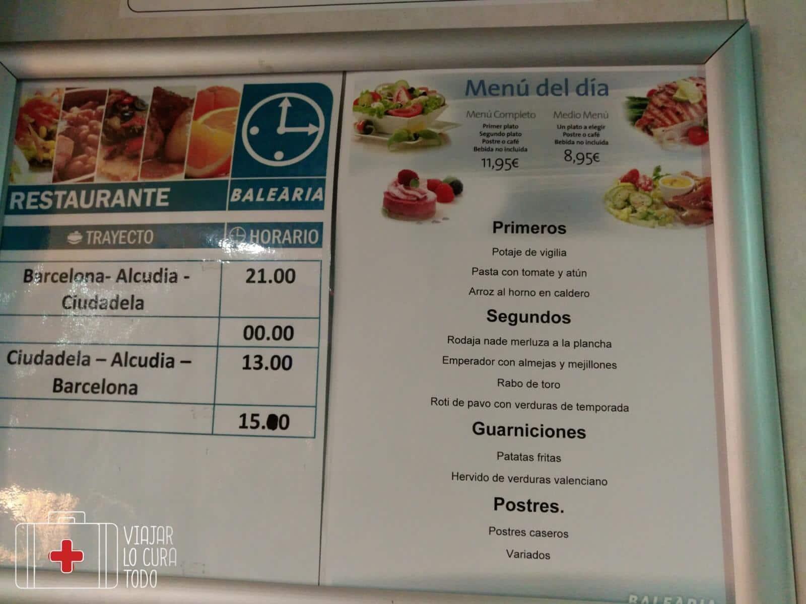menu balearia
