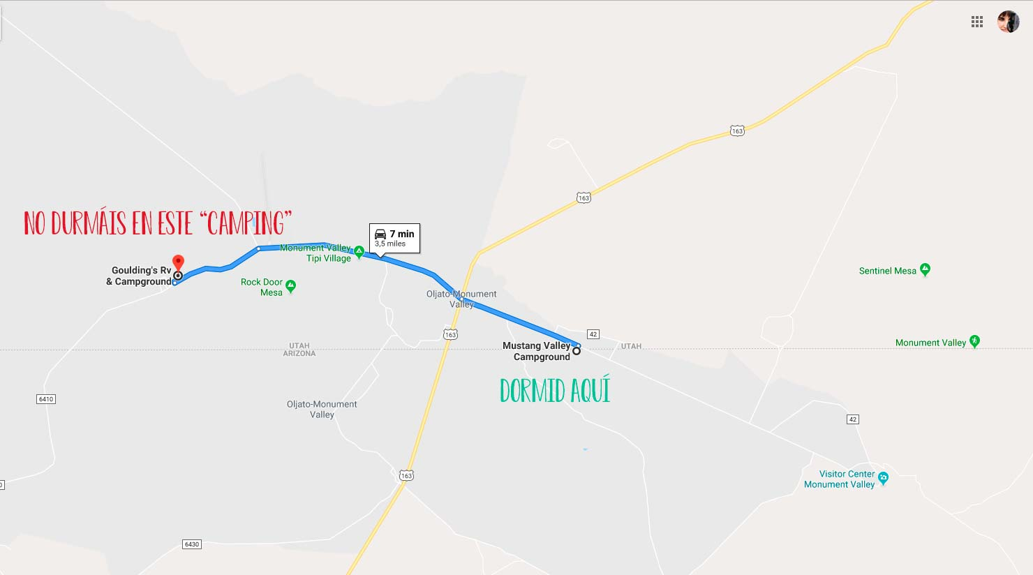 localización campings monument valley