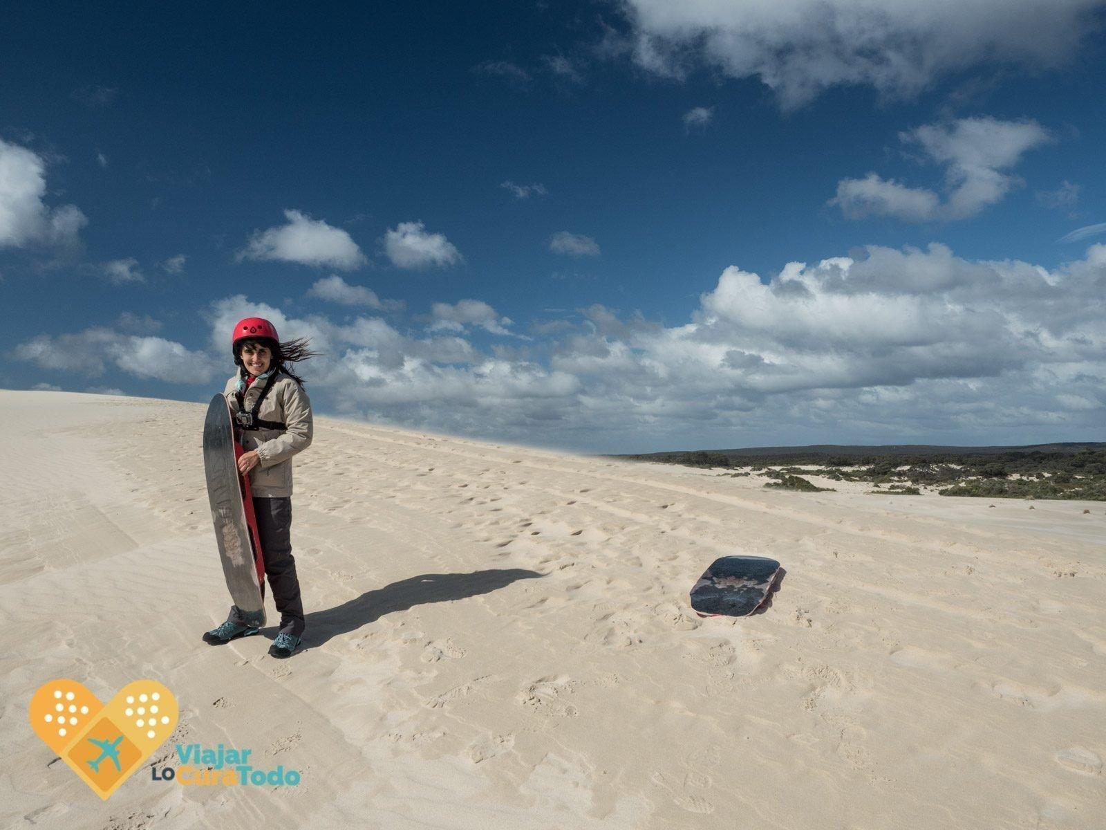 en las dunas de Litlle Sahara