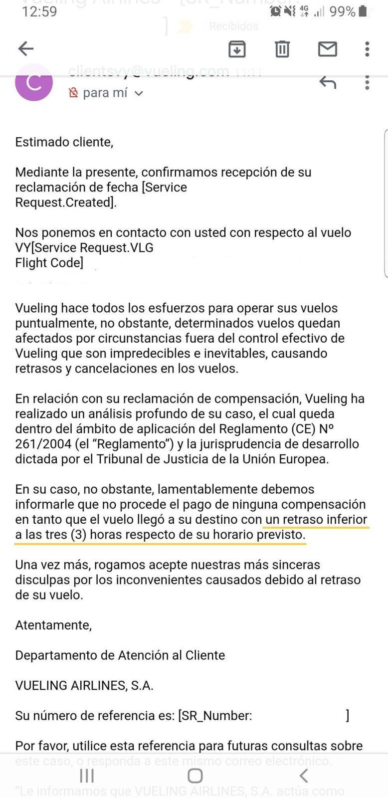 mail automático de vueling negando el retraso